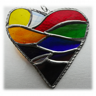 Rainbow Fields Heart Stained Glass Suncatcher Handmade