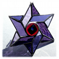 Star of David Suncatcher Stained Glass Purple Dichroic