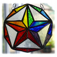 Rainbow Star Stained Glass Suncatcher Decagon