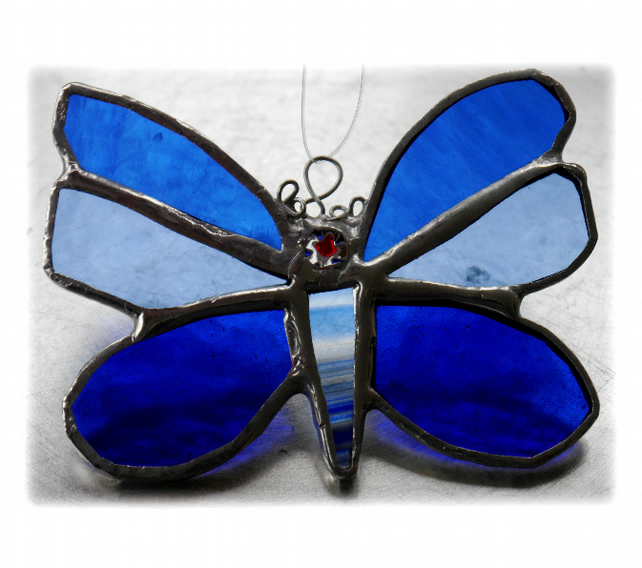 Butterfly Stained Glass Suncatcher Blue 046