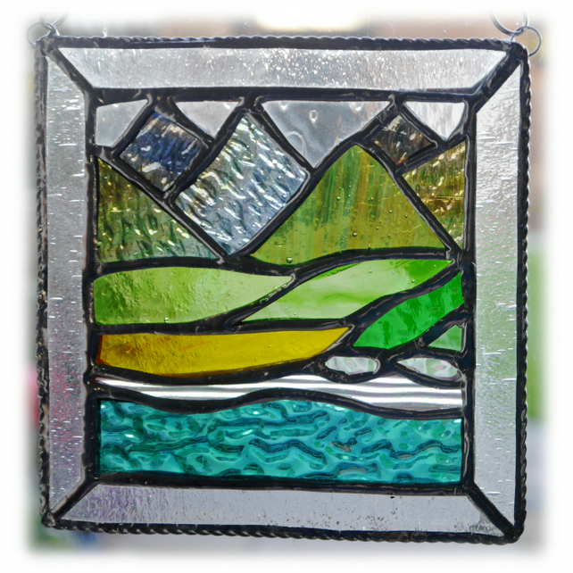 Picos Mountains Picture Suncatcher Stained Glass Handmade Sea view