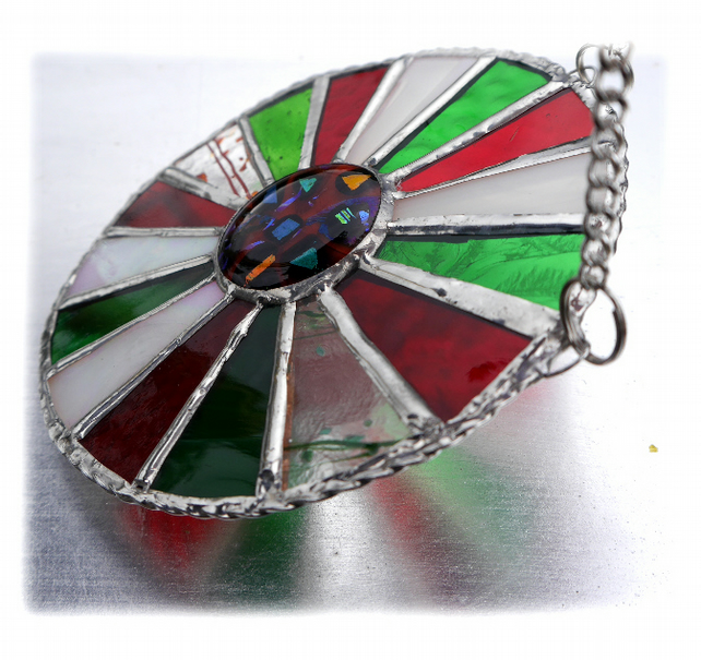 Festive Wheel Suncatcher Stained Glass Handmade