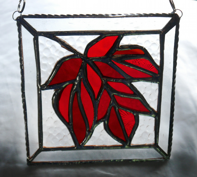 Maple Leaf Stained Glass Suncatcher Red Handmade Leaves