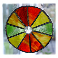 Autumn Leaf Circle Suncatcher Stained Glass Handmade