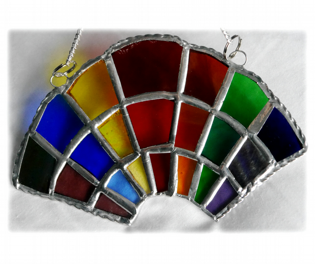Rainbow Arc Stained Glass Suncatcher Handmade Fan