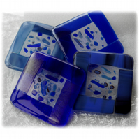 Fused Glass Coasters Set of 4  8cm Blue
