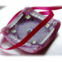 Fused Glass Trinket Dish 9cm Pink Bordered Dichroic 013