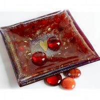 Candle Plate Fused Glass 12cm Red Gold