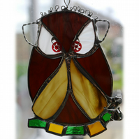 Owl Suncatcher Stained Glass Handmade Bird Too Wit Too Woo 025