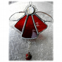 Angel Bell Suncatcher Stained Glass Red