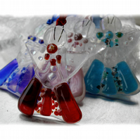 Angel Fused Glass Hanging Decoration 9cm Dichroic Blue