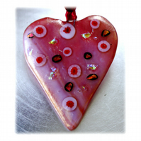 Love Heart Red Fused Glass Suncatcher 005 8.5 cm Dichroic