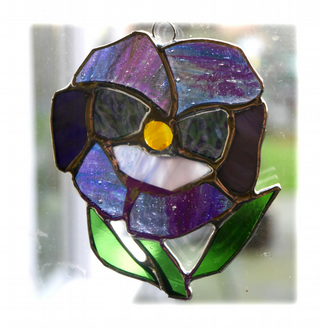 RESERVED Pansy Suncatcher Stained Glass Purple Flower 008