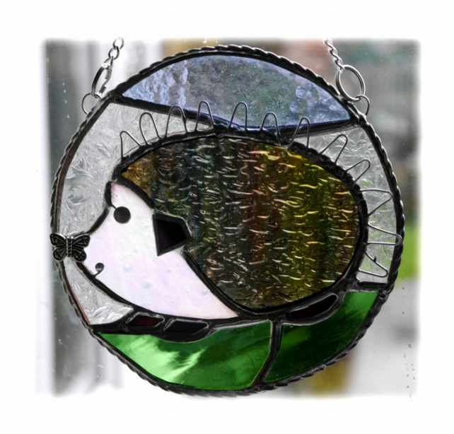 Hedgehog Stained Glass Suncatcher Ring Handmade Wildlife