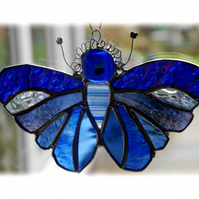 Blue Butterfly Suncatcher Stained Glass Handmade 074