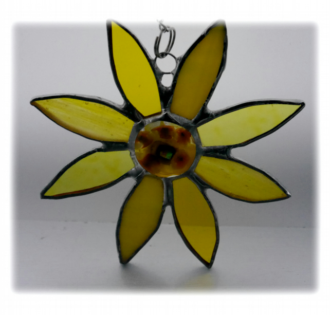 Sunflower Suncatcher Handmade Stained Glass Flower Fused 031