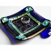 Fused Glass Trinket Dish 8.5cm Blue Emerald Bordered Dichroic 019