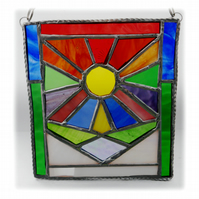 Seasons Stained Glass Suncatcher Rainbow Handmade