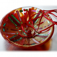 Fused Glass Bowl Round 12.5cm red Gold Dichroic 011