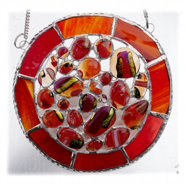 Melting Pot Suncatcher Stained Glass Abstract Handmade fused 001 Red