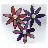 Bunch of Flowers Stained Glass Daisies Suncatcher 005
