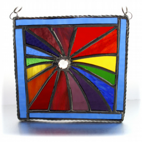 Revolution Stained Glass Suncatcher Rainbow Handmade  04