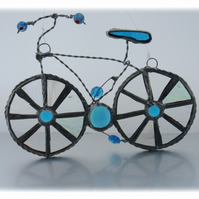 Bicycle Suncatcher Turquoise Stained Glass Handmade 20