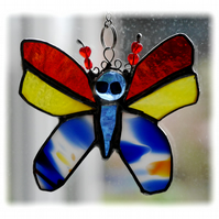 Bright Butterfly Suncatcher Stained Glass Handmade 002