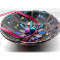 Fused Glass Bowl Round 13cm Plum Dichroic 18