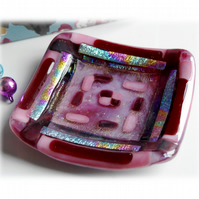 Fused Glass Trinket Dish 9cm Plum Dichroic Bordered 018