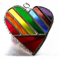 Love Heart  Rainbow Stained Glass Suncatcher Diagonal 016
