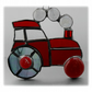 Tractor Suncatcher Stained Glass Red Handmade 038