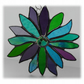 Peacock Flower Stained Glass Suncatcher Jade Purple Turquoise 001