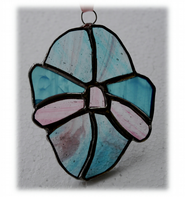 Easter Egg Suncatcher   Stained Glass Handmade Turquoise Pink