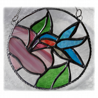 Hummingbird Flower Ring Stained Glass Suncatcher Handmade 005