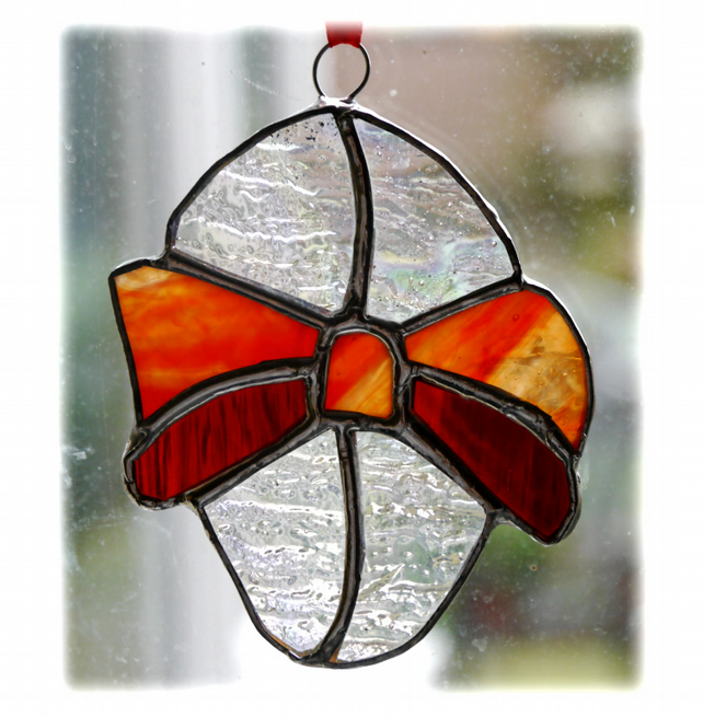 Easter Egg Suncatcher   Stained Glass Handmade Red