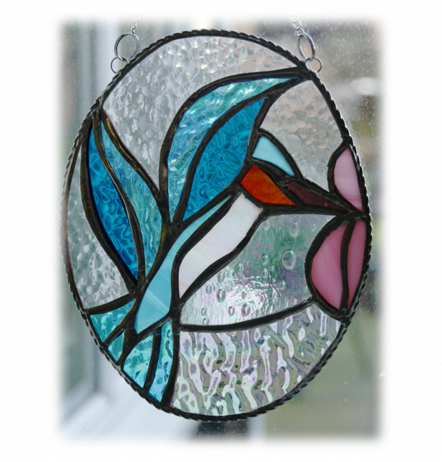 Hummingbird Picture Stained Glass Suncatcher Bird Kingfisher 012