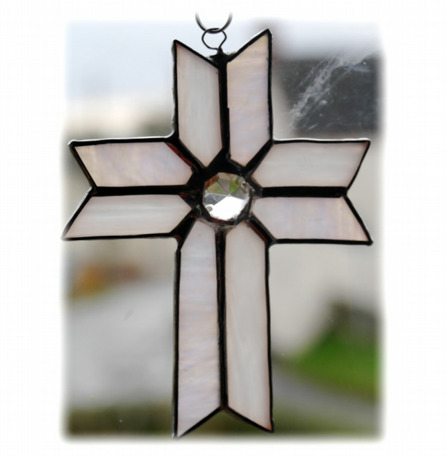 Cross Suncatcher Stained Glass Handmade White  Crystal 034