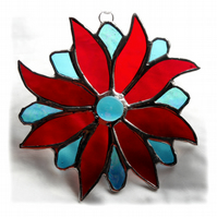 Bright Flower Stained Glass Suncatcher Red Turquoise