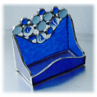 Business Card Holder Handmade Stained Glass Blue 006