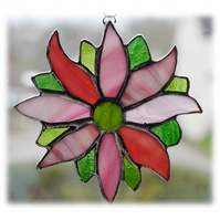 Pink Flower Stained Glass Suncatcher Green Pretty