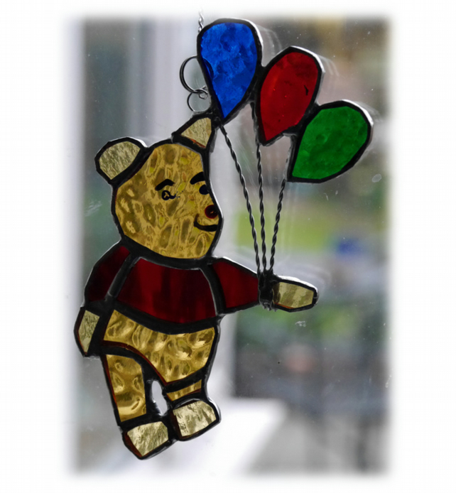 Bear with Balloons Suncatcher Stained Glass Handmade 010