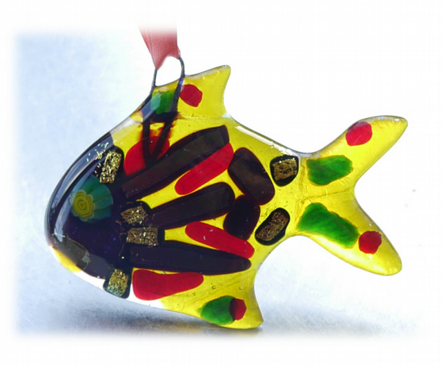Fish Fused Glass Hanging Decoration 8cm Dichroic