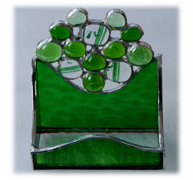 Business Card Holder Handmade Stained Glass Green 011