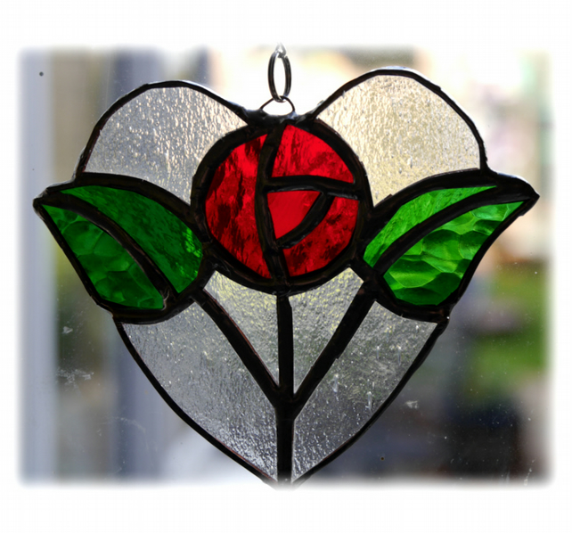 Rose Heart Suncatcher Stained Glass Machintosh 08