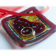 Ring Dish Fused Glass 7cm Red Heart dichroic