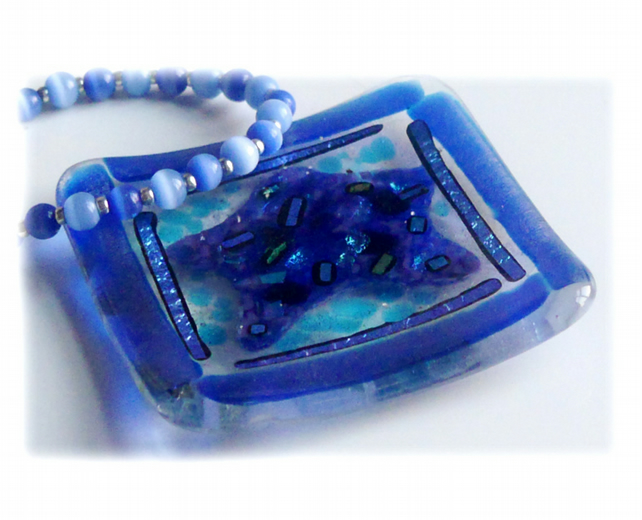 Ring Dish Fused Glass 7cm Blue Star dichroic