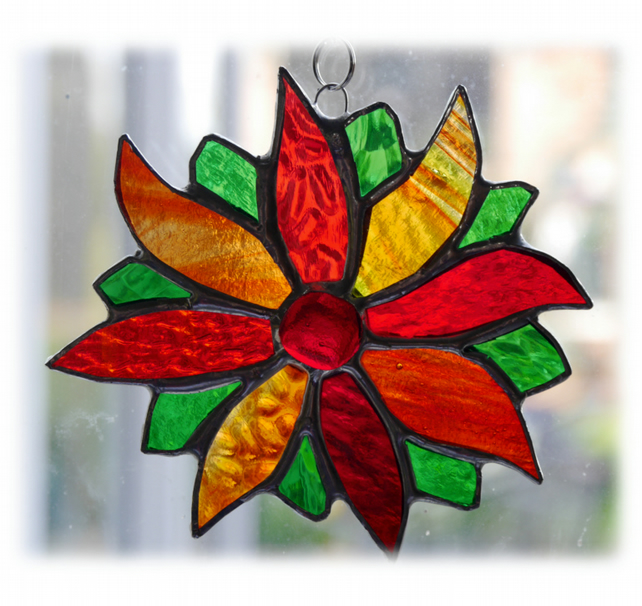 Red Flower Stained Glass Suncatcher Green Bright