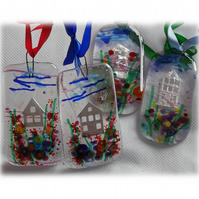 Little House Picture Fused Glass Hanging Garden
