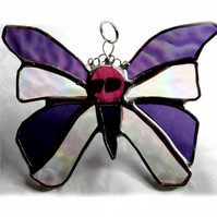 Birthstone Butterfly Suncatcher Stained Glass Amethyst February 026